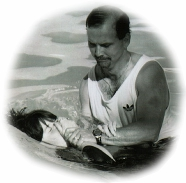 A young girl being baptized.